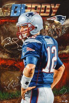 Tom Brady New England Patriots Stretched Autographed 24 x 36 Canvas - By Artist Justyn Farano Nfl Memes, Football Memes, Football Players, Patriots Fans, Patriots Football, Football Art, Kids Choice Sports Awards, Nfl History, Tom Brady