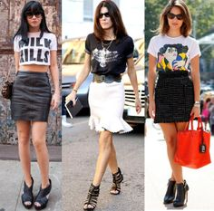 graphic tees and skirts