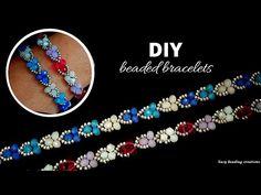 DIY beginers bracelet pattern. 3 colors unique design bracelets - YouTube Bracelets Design, Beaded Bracelets Tutorial, Handmade Bracelets, Beaded Jewelry Patterns, Bracelet Patterns, Jewelry Crafts, Jewelry Making, Diamond Bracelets, Tutorials