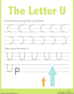 Worksheets: Practice Tracing the Letter U