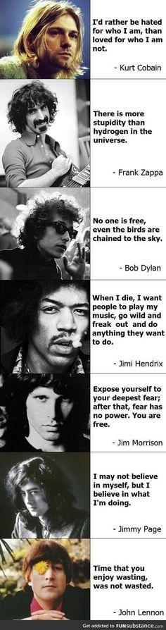 Musician quotes - kurt cobain jimi hendrix john lennon Bob Dylan Jim Morrison Jimmy page frank zappa brandnewaria Frank Zappa, Jim Morrison, Citations Rock, Great Quotes, Inspirational Quotes, Awesome Quotes, Motivational, Musician Quotes, Artist Quotes