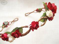 Flower Crown, Red Flower Wreath, Rose Wreath, Flower Headband, Woodland Hair Accessories, Floral Hair Circlet, Rustic Hair Accessory
