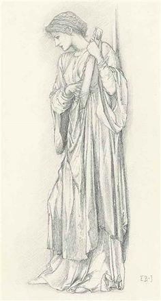 Edward Burne-Jones, A Minstrel: Study for 'The Mill'