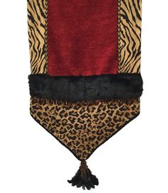 Luxury_table_runner-animal_print-red_chenille-beads-faux_fur-feather_tassel-reilly_chance_collection
