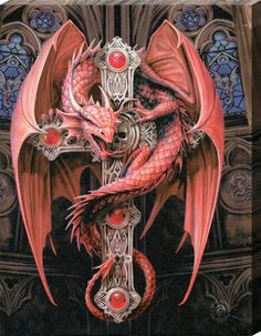Dragon on a celtic cross in red by Anne Stokes