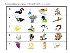 In this activity sheet students need to name each picture and circle the objects which initial sound matches the vowel.  (Spanish)
