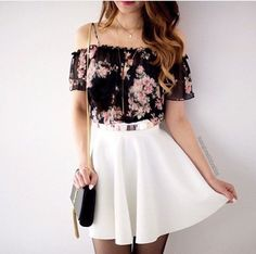Not into off-the-shoulder shirts (even with the mini straps here) but the floral is pretty cute with the white skirt
