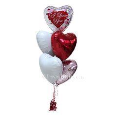 Un precioso ramillete de globos inflados con helio, para sorprender a alguien muy especial el Día de San Valentín - de www.fiestafacil.com, $19.95 / A beautiful balloon bunch to surprise someone special on Valentine's Day - from www.fiestafacil.com