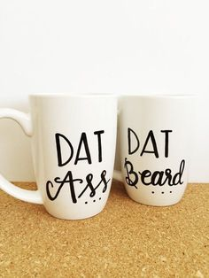 A set of mugs to highlight your better qualities as a couple. THE DETAILS ▪ Listing includes TWO mugs (available in 14 oz., 19 oz., and a 16 oz. travel size) shape may vary based on inventory. ▪ Mugs are hand painted with the design pictured above. If you would like further customization please add that option at checkout. This can include minor additions such as adding a name or date. If you would like anything more, please contact me prior to purchase for a custom order. ▪ Mugs are heat…