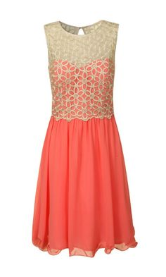 Coral Lace Dress - Wedding Guest Outfits