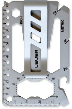 Lever Gear Toolcard - One card. 40 tools. 100s of uses. Credit card-sized. Weighs 1 ounce. TSA compliant. Satin stainless finish. Can fit in your wallet or be your wallet. Snap-on money clip included. Can be customized with your personal message or logo. Always with you so you can get things done. www.levergear.com