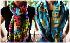 No-sew scarves and one-stitch scarves | A Fabulous Fat Quarter | Simple Fleece Scarves | Homemade holiday gift ideas
