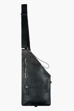 ALEXANDER MCQUEEN Black Leather Sling iPad Messenger Bag