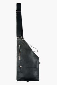 ALEXANDER MCQUEEN Black Leather Sling iPad Messenger Bag