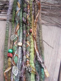 Set of 10 SE Forest Fairy Wool Dreads Dreadlock extensions with metallic ribbons, fairy & leaf charms by GypsyMarsala, $56.00