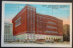 Chicago New Bismark Hotel Vintage Postcard 1920s