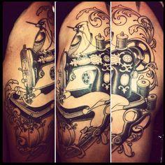 Sewing tattoo in progress, by Joey Ortega
