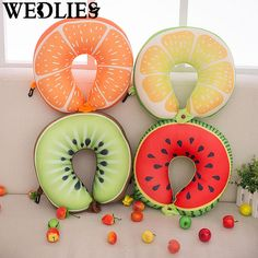 Fruit U Shaped Pillow Travel Watermelon Lemon Kiwi Orange Pillows Cushion Nanoparticles Neck Pillow Outdoor Pillow Birthday Gift #Affiliate