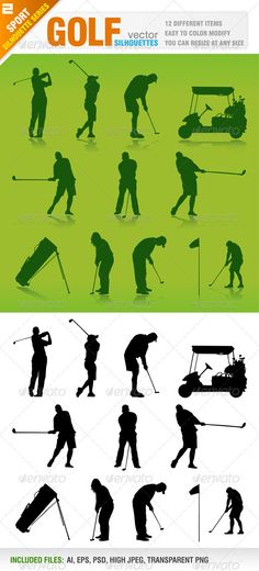Golf Silhouettes  #GraphicRiver         12 Different silhouettes. Golf players, golf car, golf bag and flag..  	 Green background/shadow and only black versions.  	 Ai, eps, psd, high jpeg and transparent png files included in the zip file.  	 Each silhouette included in different layer for ai, eps and psd documents.  	 You can see other sport silhouettes from my portfolio..  	 Please, dont forget to rate my vectors! Thank you    SPORT