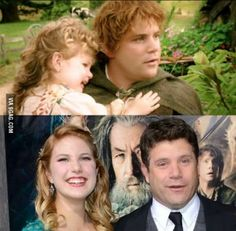 Sean Astin with his daughter in Return of the King, and at The Hobbit premiere.