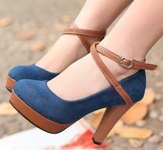 ENMAYER Fashion High Heel Platform Women Pumps 2014 Vintage Ankle Straps Platform Dress Pumps 5-color Big Size 34-43 $54.38 - 60.38