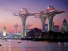 London: futuristic building is shaped like a lotus flower.