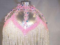 hand beaded ornament cover price reduced by oma112 on Etsy, $75.50