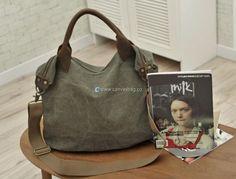 Large Capacity Shoulder Bag Leather Canvas Bag (19)