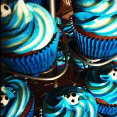 Chocolate with vanilla buttercream Hellas soccer cupcakes