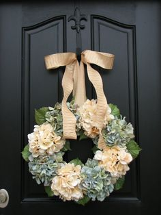 Hydrangeas - Housewarming Gift - Year Round Floral Wreath - Door Wreath - Shabby Chic - Country Decor