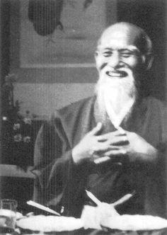 Morihei Ueshiba smiling