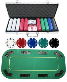 500pc Suited Poker Set + Texas Hold\'em Folding Table Top