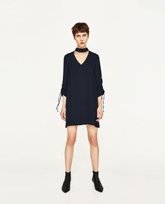 ZARA - WOMAN - CHOKER DRESS WITH GATHERED SLEEVES