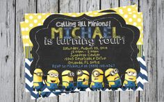Despicable Me Minions Birthday Invitation on by MyPerfectPrints, $10.00