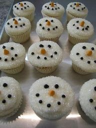 Snowmen cupcakes- love these dipped in the white sugar crystals