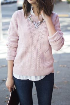 #fall #outfits ·  Pink Pullover // Skinny Jeans // Necklace // White Shirt