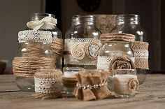 Set of Mason Jars and Votive Candles Country Chic Rustic Wedding Set Lot. (Small groupings as an option for food table or other areas needing decor but not necessarily full-sizes centerpiece s )