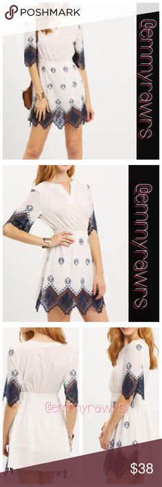 25% off Bundles • Vintage Embroidered Lace Dress Beautiful vintage style dress. Features an embroidered bottom and sleeve. Material: rayon. NWOT • Only small is available. Dresses Midi