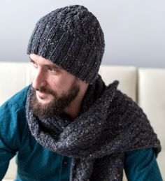 Men's Cable Hat and Scarf - http://www.knittingboard.com/
