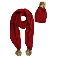 Red 2-Piece Knit Slouch Beanie & Scarf Set With Fur Pom-Poms ($30) ❤ liked on Polyvore featuring accessories, scarves, knit scarves, red shawl, oblong scarves, red scarves and fur shawl