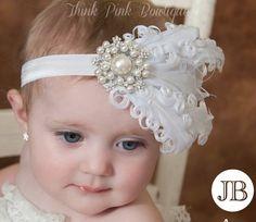Venda del bebé blanco diademas de bebé diadema de por ThinkPinkBows, $11.95