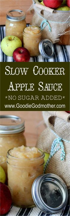 Slow Cooker Apple Sauce Recipe with NO SUGAR added! So easy to make and healthy Slow Cooker Apple Sauce Recipe with NO SUGAR added! So easy to make and healthy Healthy Drinks, Healthy Snacks, Healthy Recipes, Apple Recipes To Freeze, Healthy Eating, Canning Recipes, Crockpot Recipes, Slow Cooker Recipes Dessert, Dessert Recipes