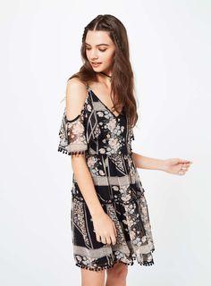 Pom Pom Cold Shoulder Dress