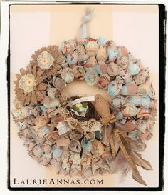 LaurieAnna's Vintage Home: Spring Paper Cone Wreath - Tutorial