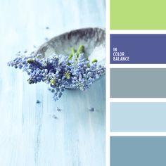Los tonos fríos de colores azul oscuro y azul celeste combinan muy bien con el verde pálido. Tal paleta de colores es muy adecuada para decorar un cuarto de baño, un salón claro y espacioso o un hall. Las reproducciones, fotos, almohadas y sobrecamas en dichos tonos adornarán un dormitorio o un salón.