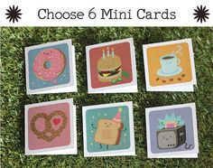 6 Assorted Mini Cards/ Gift Tags Cute, Quirky Illustration Colourful: YOU CHOOSE