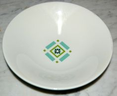 7 Vtg Iroquois Ben Seibel Bombay Green Blue Soup/Cereal Bowls Geometric #9387 #InformalChina #MidCenturyModern #Iroquois