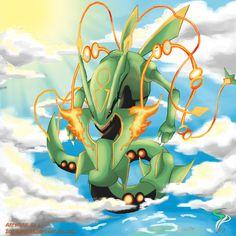 Mega Rayquaza by IqbalPutra on DeviantArt Pokemon Human Form, Mega Pokemon, Pokemon Sun, Pokemon Games, Nintendo Games, Rayquaza Pokemon, Mega Rayquaza, Digimon, Pokemon Go Team Mystic