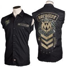 Military inspired rock n roll clothing as worn by Tom Maxwell of Hellyeah. The Wornstar Sergeant sleeveless work shirt features printed military rank insignia graphics on the back and sleeve with Wornstar logo badge on front. It also features a military name tape patch on the front. The shirt is black button-down sleeveless light weight work shirt. This durable work shirt is lighter weight, breathable, and great for wearing on stage and off. Popular with rock stars and rock n roll fans.