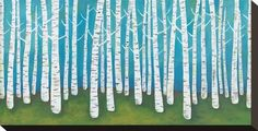 Springtime Birches Stretched Canvas Print by Lisa Congdon at Art.com